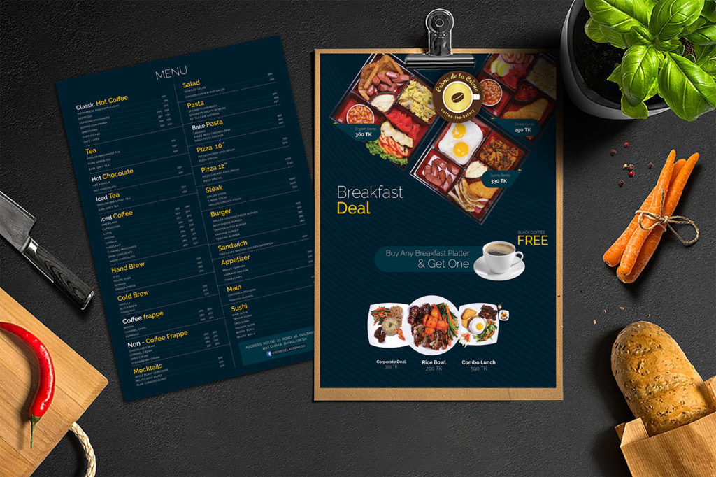Restaurant Menu Design for Crème de la Crème Coffee